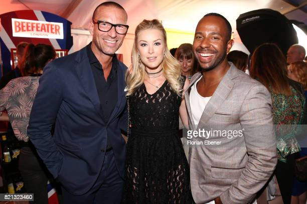 Andreas Rebbelmund Nina Ensmann and Inan Lima attend the Thomas Rath after party during Platform Fashion July 2017 at Areal Boehler on July 23 2017...