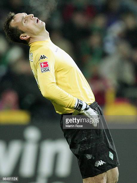 Andreas Reinke, goalkeeper of Bremen reacts during the Bundesliga match between Werder Bremen and Hamburger SV at the Weser Stadium on December 18,...