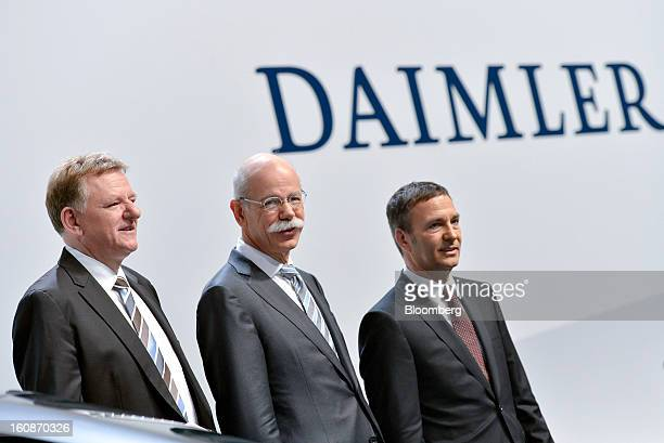 Andreas Renschler head of Daimler AG's truck division left Dieter Zetsche chief executive officer of Daimler AG center and Bodo Uebber chief...