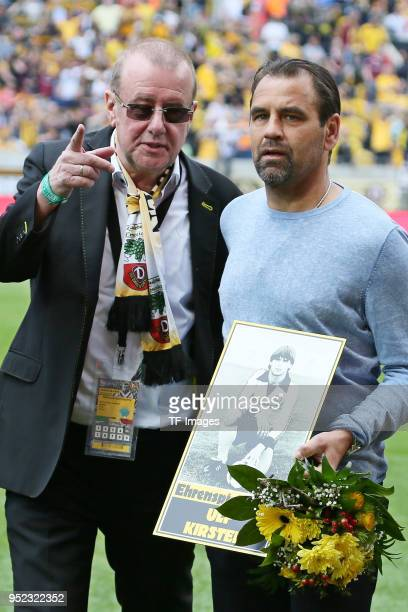 Andreas Ritter and Ulf Kirsten look on prior to the Second Bundesliga match between SG Dynamo Dresden and Holstein Kiel at DDVStadion on April 14...