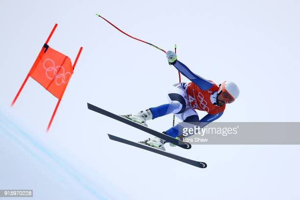 Andreas Romar of Finland makes a run during the Men's Downhill Alpine Skiing training at Jeongseon Alpine Centre on February 9 2018 in Pyeongchanggun...