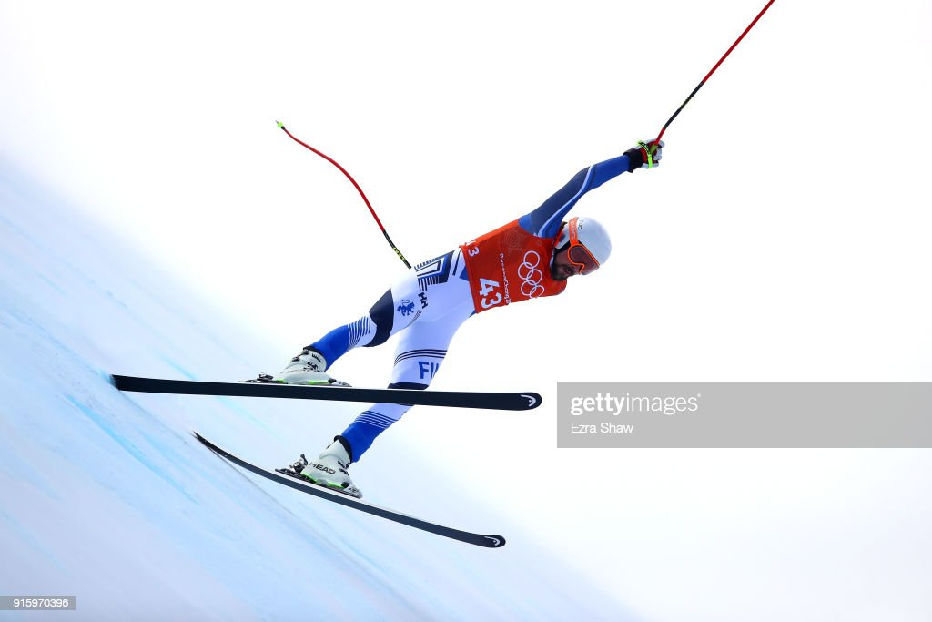 Andreas Romar of Finland makes a run during the Men's Downhill Alpine Skiing training at Jeongseon Alpine Centre on February 9, 2018 in Pyeongchang-gun, South Korea.