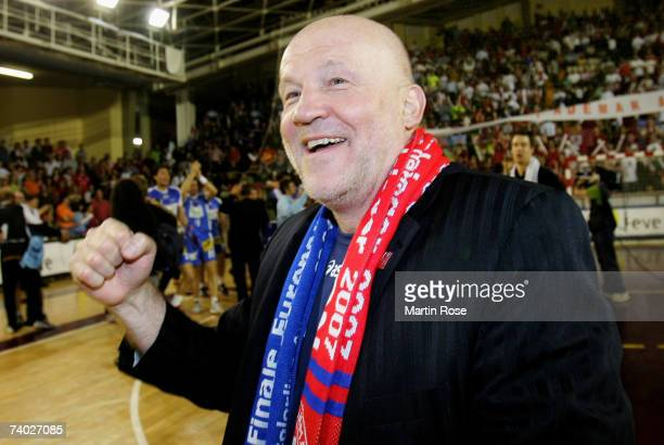 Andreas Rudolph preseident of Hamburg celebrates after the European Cup Winners Cup Final second leg match between Ademar Leon and HSV Handball at...