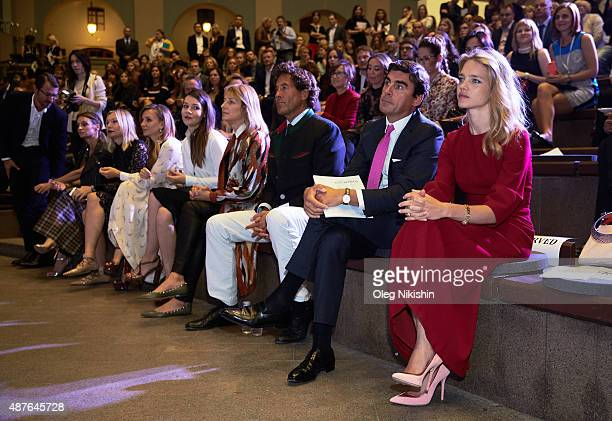 Andreas Rumbler and Natalia Vodianova attend the 'Off White' charity auction for Naked Heart Foundation during the Cosmoscow art fair in Gostinny...
