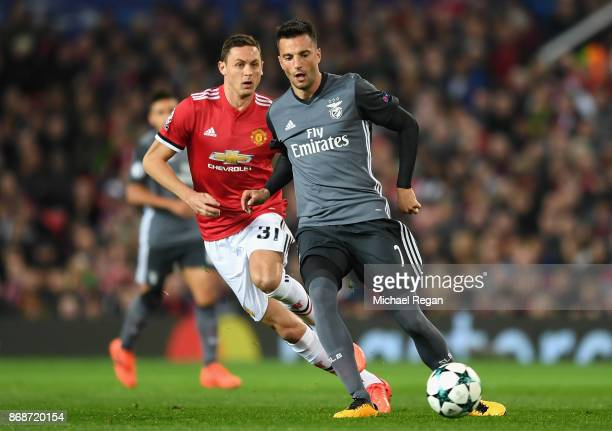 Andreas Samaris of Benfica and Nemanja Matic of Manchester United in action during the UEFA Champions League group A match between Manchester United...