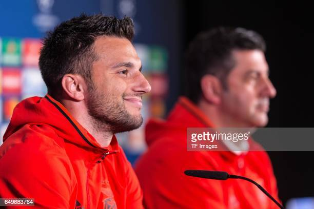Andreas Samaris of Benfica speaks during the press conference prior the UEFA Champions League Round of 16 second leg match between Borussia Dortmund...