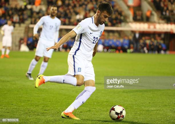 Andreas Samaris of Greece in action during the FIFA 2018 World Cup Qualifier between Belgium and Greece at Stade Roi Baudouin on March 25 2017 in...
