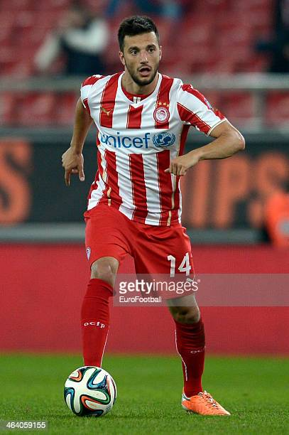 Andreas Samaris of Olympiacos dribbles with the ball during the Greek Superleague match between Olympiacos and Levadiakos at the Georgios Karaiskakis...