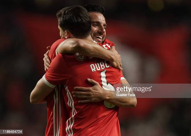Andreas Samaris of SL Benfica and Ruben Dias of SL Benfica celebrates the victory at the end of the Taca De Portugal match between SL Benfica and SC...