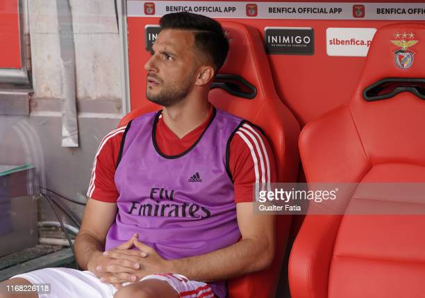 Andreas Samaris of SL Benfica before the start of the Liga NOS match between SL Benfica and Gil Vicente FC at Estadio da Luz on September 14 2019 in...
