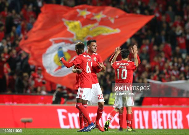 Andreas Samaris of SL Benfica celebrates with teammate Florentino Luis of SL Benfica after scoring a goal during the Liga NOS match between SL...
