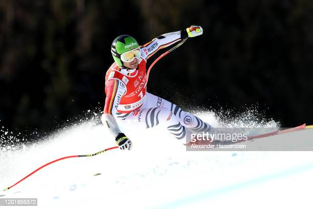 Andreas Sander of Germany competes at the Hahnenkamm Rennen Audi FIS Alpine Ski World Cup Men's Super G at Streif on January 24, 2020 in Kitzbuehel,...