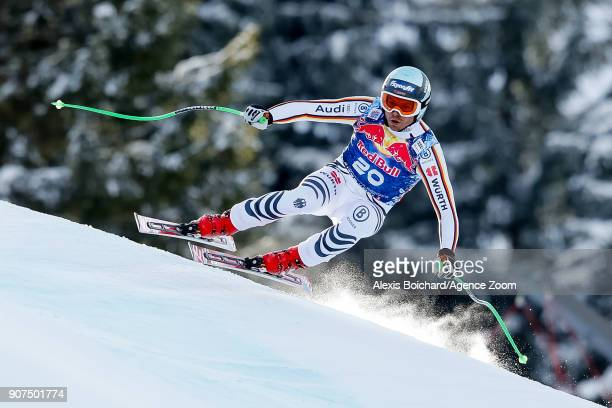 Andreas Sander of Germany competes during the Audi FIS Alpine Ski World Cup Men's Downhill on January 20 2018 in Kitzbuehel Austria
