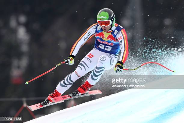 Andreas Sander of Germany competes during the Hahnenkamm Rennen Audi FIS Alpine Ski World Sup Men's Downhill at Streif on January 25 2020 in...
