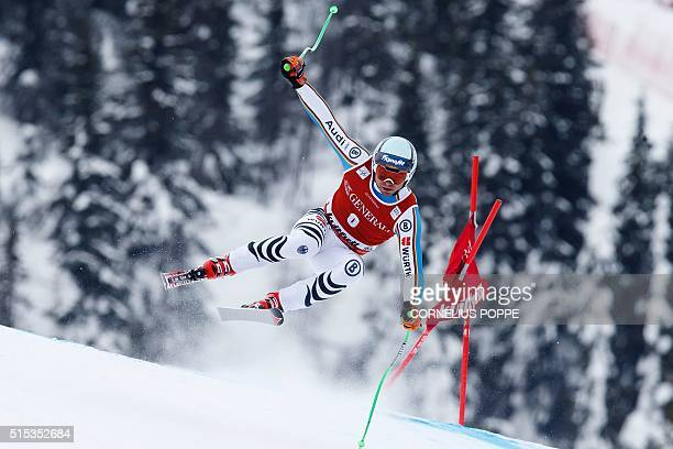 Andreas Sander of Germany competes during the Mens Alpine Ski World Cup Super G race in Kvitfjell, Norway, on March 13, 2016. / AFP / NTB scanpix AND...