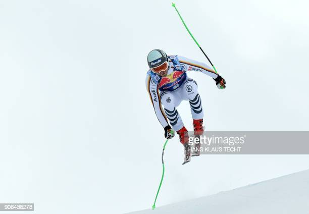 Andreas Sander of Germany performs during a training session of the FIS Alpine World Cup Men's downhill event in Kitzbuehel Austria on January 18...