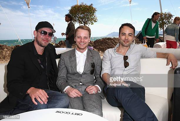Andreas Schaap and actors Stefan Konarske and Nikolai Kinski attend the Medienboard reception during the 66th Annual Cannes Film Festival at La Plage...