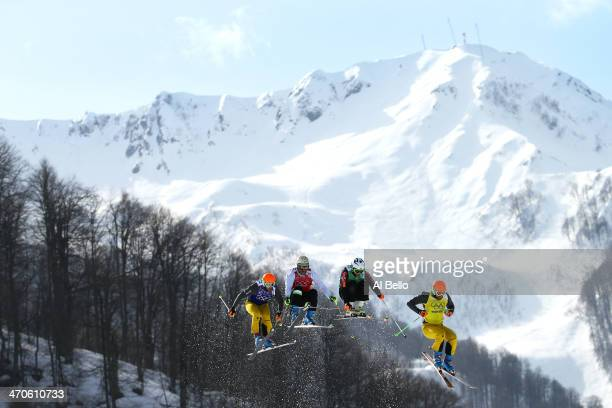 Andreas Schauer of Germany Didrik Bastian Juell of Norway Filip Flisar of Slovenia and Florian Eigler of Germany compete during the Freestyle Skiing...