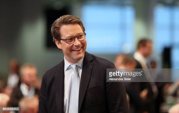 Andreas Scheuer General Secretary of the Bavarian Christian Social Union smiles at the CSU party congress on December 15 2017 in Nuremberg Germany