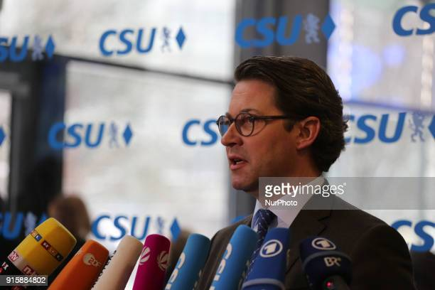 Andreas Scheuer is seen in the picture in Munich Germany on February 8 2018 He is a candidate for the role of infrastructure and traffic minister The...