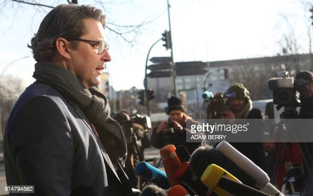 Andreas Scheuer secretary general of the conservative Christian Social Union gives a statement as he arrives for further talks to form a new...