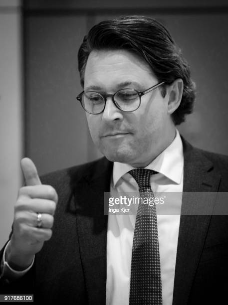 Andreas Scheuer secretary general of the conservative Christian Social Union arrives for a special faction meeting on February 07 2018 in Berlin...