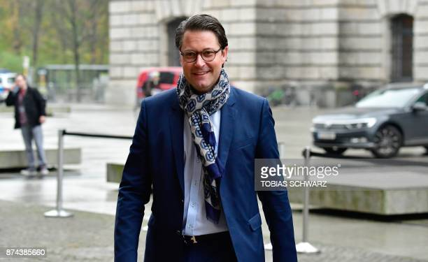 Andreas Scheuer secretary general of the conservative Christian Social Union party arrives for further exploratory talks with members of potential...