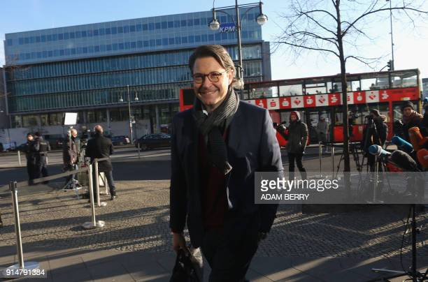 Andreas Scheuer secretary general of the conservative Christian Social Union arrives for further talks to form a new government in Berlin on February...
