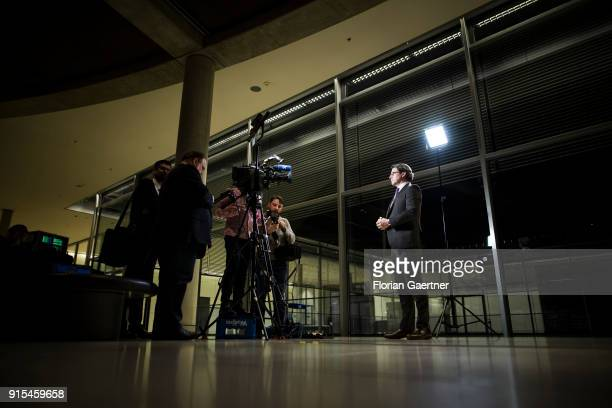 Andreas Scheuer Secretary General of the CSU speaks to the media after a special faction meeting on February 07 2018 in Berlin Germany The German...