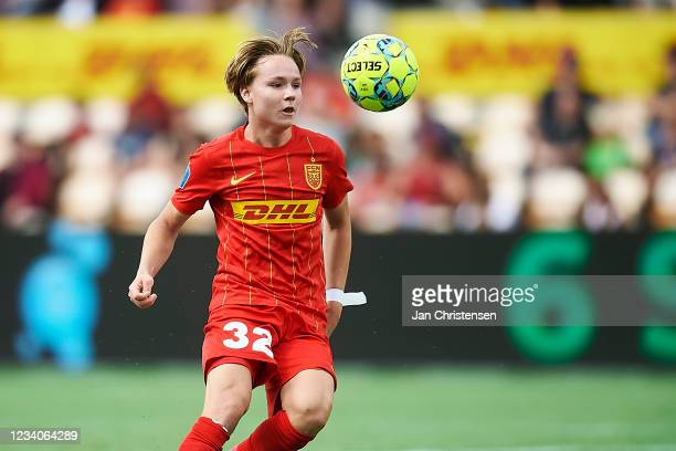 Andreas Schjelderup of FC Nordsjalland in action during the Danish 3F Superliga match between FC Nordsjalland and Viborg FF at Right to Dream Park on...