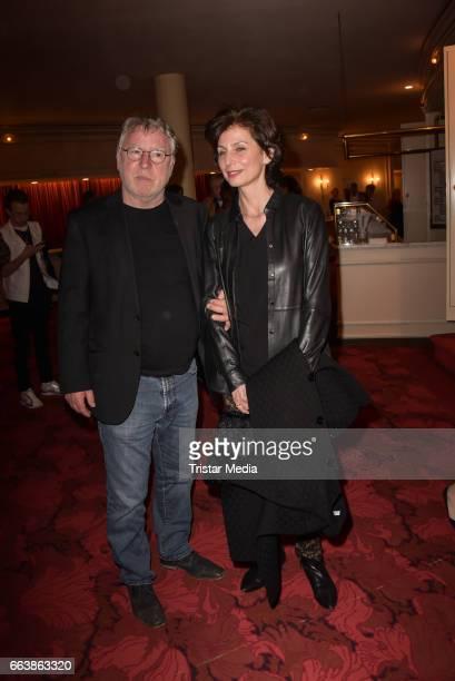 Andreas SchmidtSchaller and Marijam Agischewa during the 'Aufguss' Premiere at Theatre Kurfuerstendamm on April 2 2017 in Berlin Germany