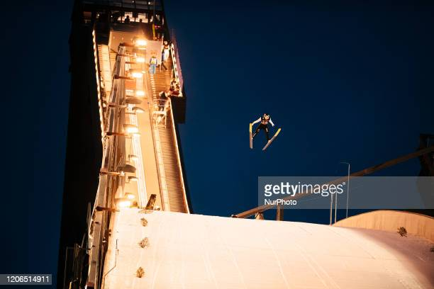 Andreas Schuler soars in the air during the men's large hill team competition HS130 of the FIS Ski Jumping World Cup in Lahti, Finland, on February...