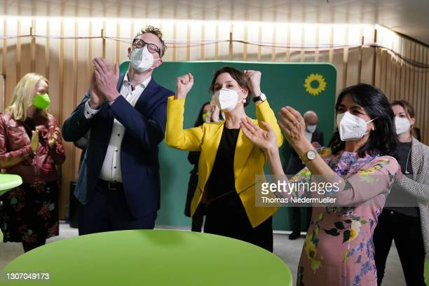 Andreas Schwarz, head of the German Greens party in Baden-Wuerttemberg, Sandra Detzer, state chairwoman of the German Greens party and President of...