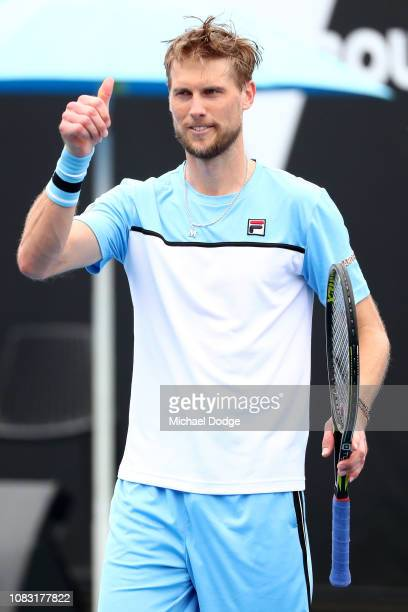 Andreas Seppi of Italy celebrates after winning his second round match against Jordan Thompson of Australia during day three of the 2019 Australian...