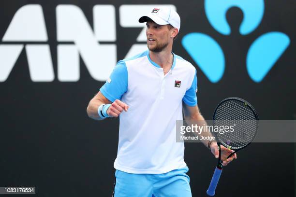 Andreas Seppi of Italy celebrates in his second round match against Jordan Thompson of Australia during day three of the 2019 Australian Open at...