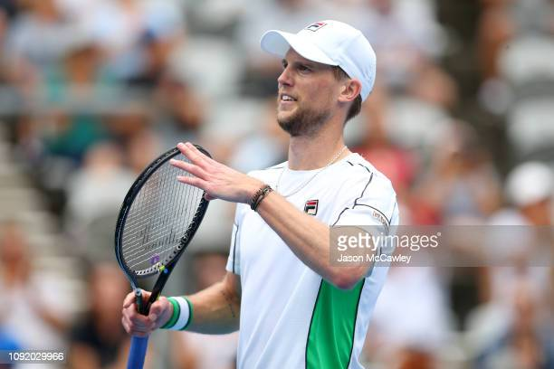 Andreas Seppi of Italy celebrates winning his match against Stefanos Tsitsipas of Greece during day five of the 2019 Sydney International at the...