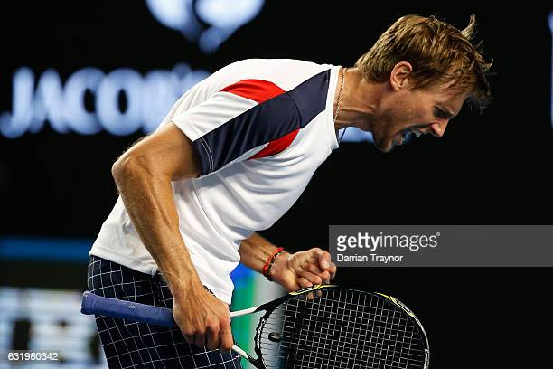 Andreas Seppi of Italy celebrates winning his second round match against Nick Kyrgios of Australia on day three of the 2017 Australian Open at...