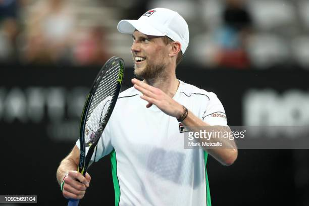 Andreas Seppi of Italy celebrates winning his semi final match against Diego Schwartzman of Argentina during day six of the 2019 Sydney International...