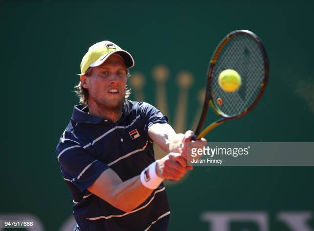 Andreas Seppi of Italy hits a backhand return during his Mens Singles match against Kyle Edmund of Great Britain at MonteCarlo Sporting Club on April...