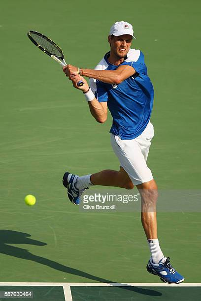 Andreas Seppi of Italy hits during the men's second round single match against Rafael Nadal of Spain on Day 4 of the Rio 2016 Olympic Games at the...