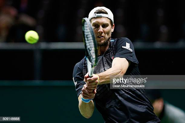 Andreas Seppi of Italy in action against Gilles Muller of Luxembourg during day 2 of the ABN AMRO World Tennis Tournament held at Ahoy Rotterdam on...