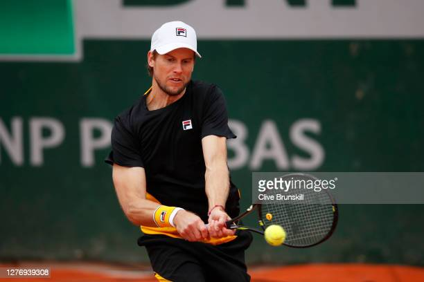 Andreas Seppi of Italy plays a backhand during his Men's Singles first round match against Sebastian Korda of The United States of America during day...