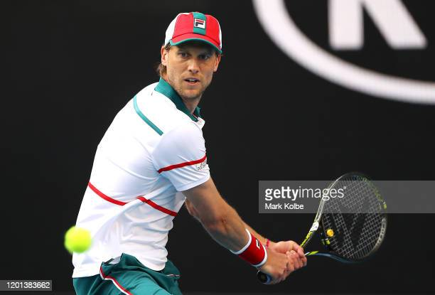 Andreas Seppi of Italy plays a backhand during his Men's Singles second round match against Stan Wawrinka of Switzerland on day four of the 2020...