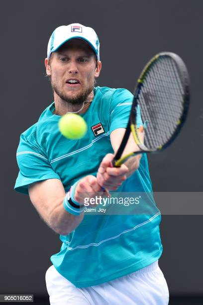 Andreas Seppi of Italy plays a backhand in his first round match against Corentin Moutet of France on day one of the 2018 Australian Open at...