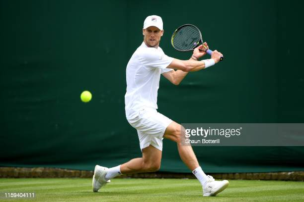 Andreas Seppi of Italy plays a backhand in his Men's Singles first round match against Nicolas Jarry of Chile during Day one of The Championships...