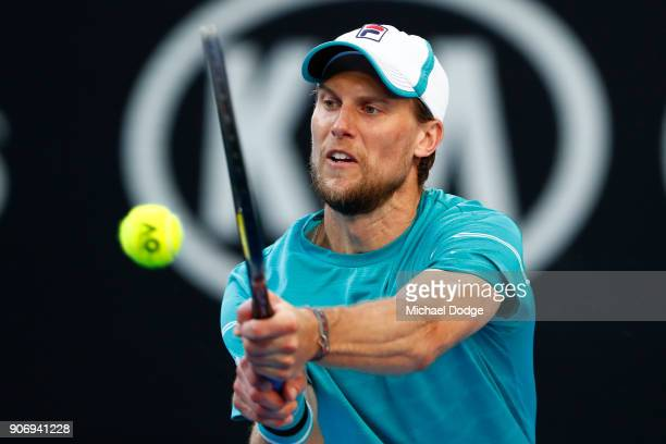 Andreas Seppi of Italy plays a backhand in his third round match against Ivo Karlovic of Croatia on day five of the 2018 Australian Open at Melbourne...
