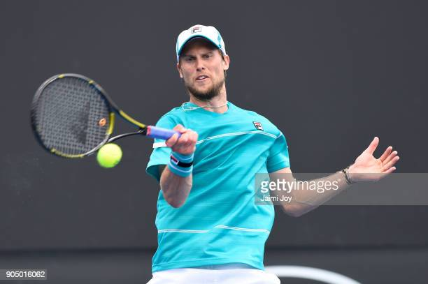 Andreas Seppi of Italy plays a forehand in his first round match against Corentin Moutet of France on day one of the 2018 Australian Open at...
