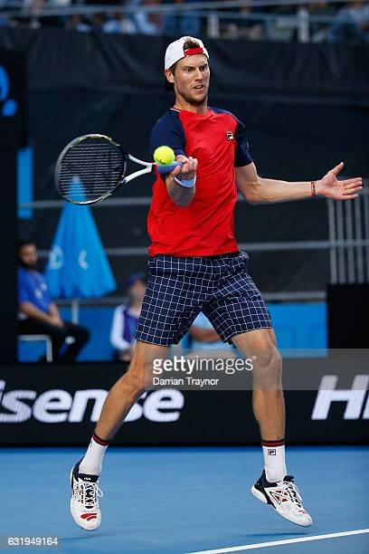Andreas Seppi of Italy plays a forehand in his second round match against Nick Kyrgios of Australia on day three of the 2017 Australian Open at...