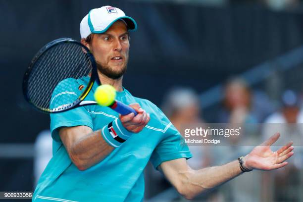 Andreas Seppi of Italy plays a forehand in his third round match against Ivo Karlovic of Croatia on day five of the 2018 Australian Open at Melbourne...