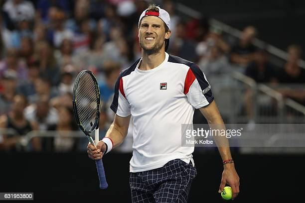 Andreas Seppi of Italy reacts after winning the forth set of his second round match against Nick Kyrgios of Australia on day three of the 2017...